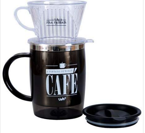 Caneca Com Filtro 400ml Pra Passar Cafe Uatt