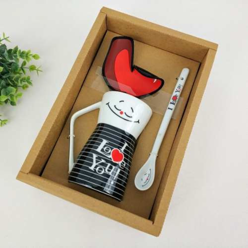 Caneca De Ceramica Com Colher I Love You Urban