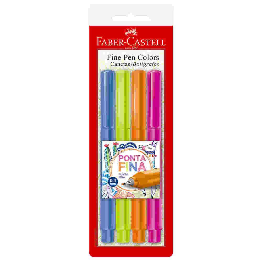 Caneta Fine Pen Cartela Com 4 Faber Castell