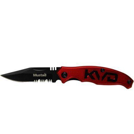 Canivete Kvd Mustad Lamina Serrilhada Cabo Aluminio Vermelho