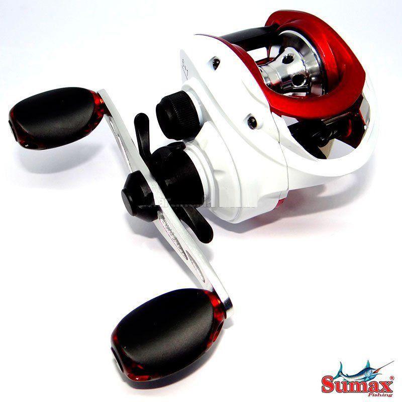 Carretilha Sumax Akita 7001 7 Rol Branca E Vermelha Esquerda