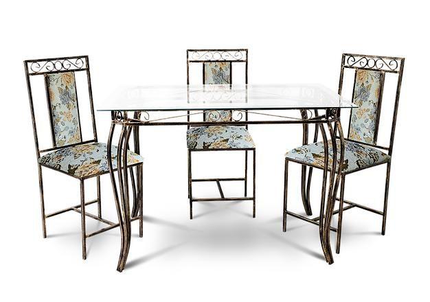 Conjunto De Mesa 4 Cadeiras 80cm X 1,20m Safira Sofisticado Em Aço Decorlidi