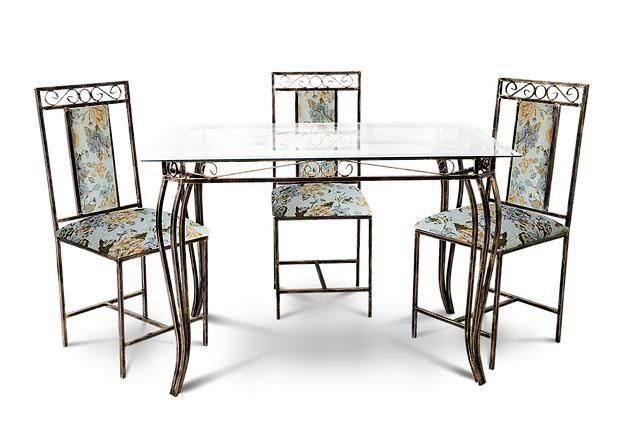 Conjunto De Mesa 6 Cadeiras 80cm X 1,60m Safira Sofisticado Em Aço Decorlidi