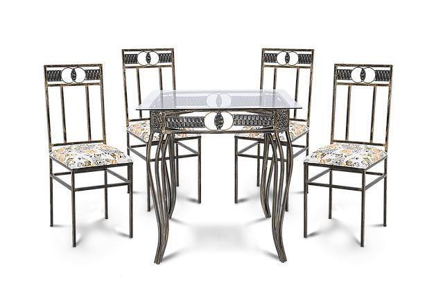Conjunto De Mesa Agata Com 4 Cadeiras 1,00x1,00 M Sofisticado Em Aço Decorlidi