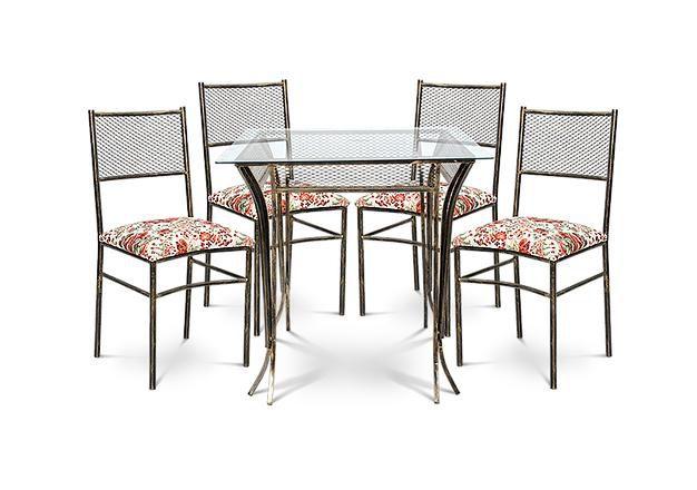 Conjunto De Mesa Atlanta Com 4 Cadeiras Sofisticado Em Aço Decorlidi