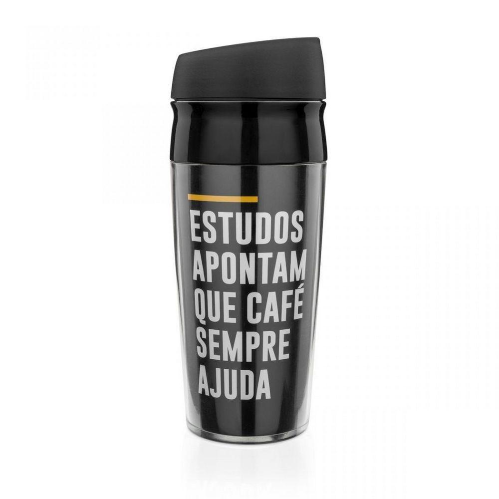 Copo Viagem 400ml Frases Cafe Ajuda Ludi
