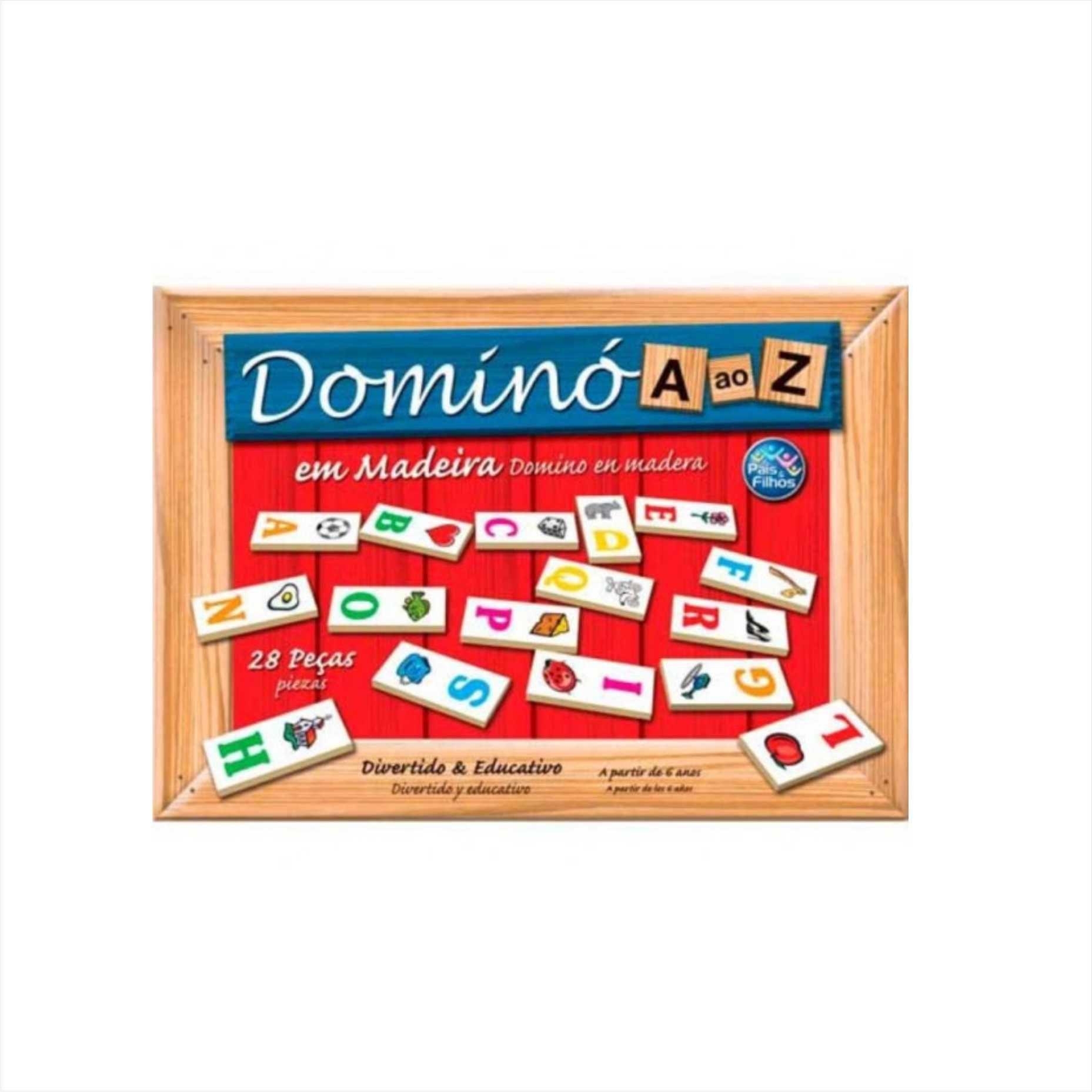 Domino De A Ao Z Em Madeira Com31pçs Pais E Filhos