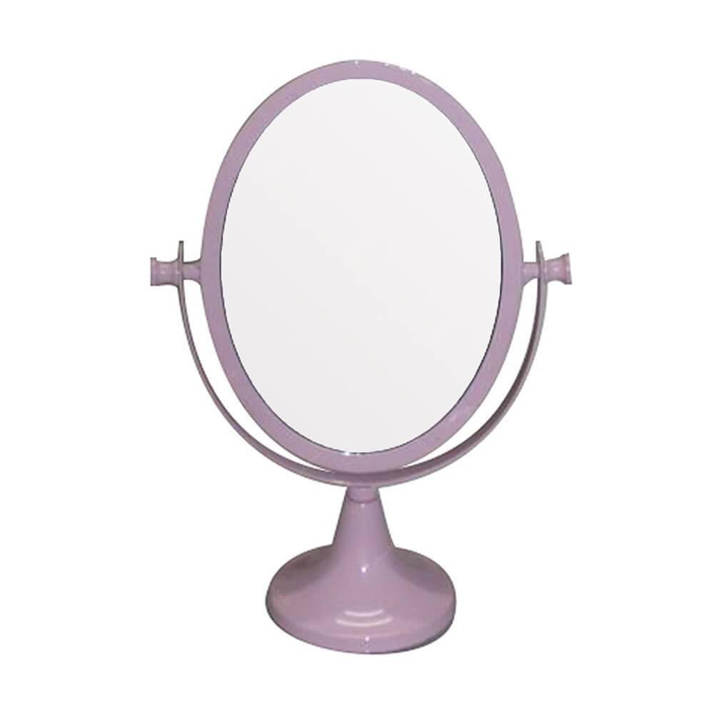 Espelho De Mesa Metal Romantic Oval 1 Lado Pink Urban