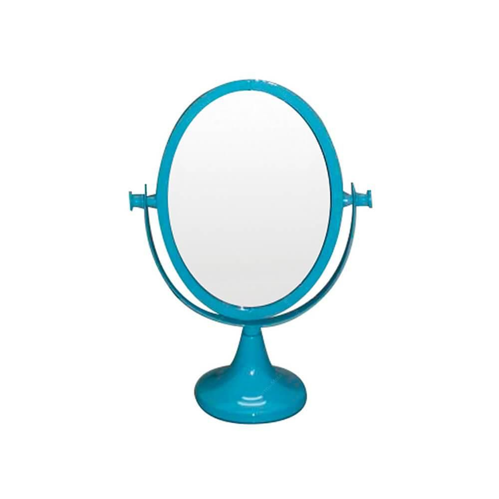 Espelho De Mesa Metal Romantic Oval 2 Lados Azul Urban