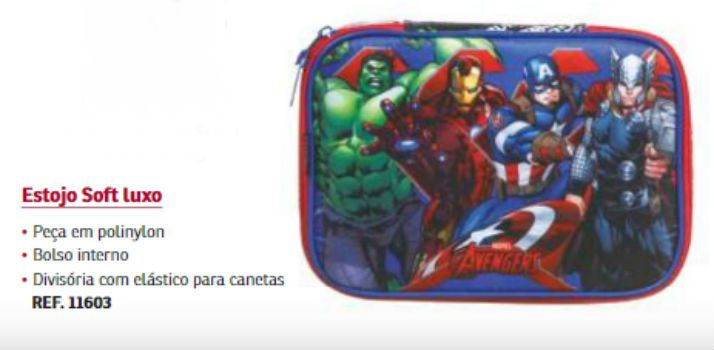 Estojo 1 Divisoria Soft Luxo Avengers Dmw