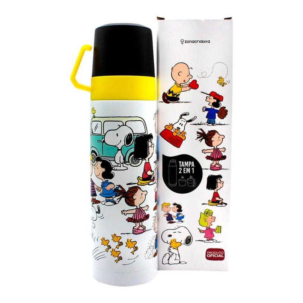 Garrafa Com 2 Tampas Xicara 500ml Turma Snoopy Zona Criativa