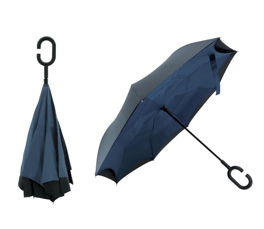 Guarda Chuva Invertido Sombrinha Abre Contrario Azul Brizi