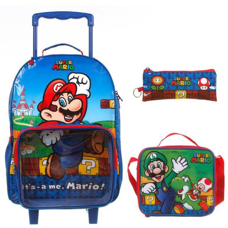 Kit Mochila Carrinho Super Mario 11736 Com Lancheira + Estojo Dmw