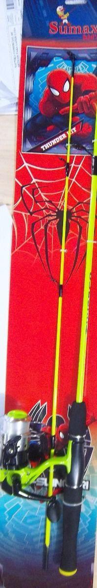 Kit Pesca Infantil 1 Molinete E 1 Vara Thunder Kids Cores Sumax Verde Vara 1,3m