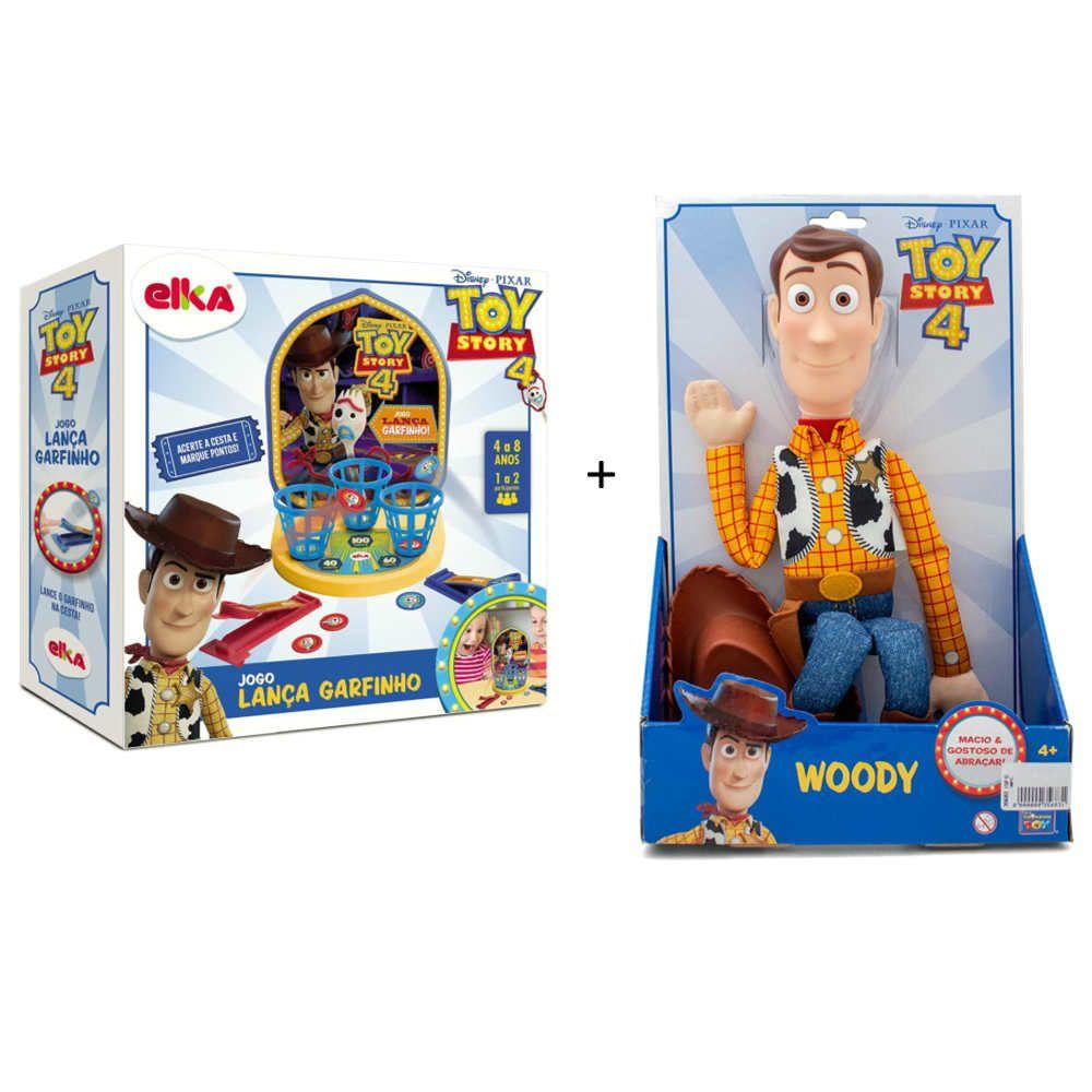 Kit Toy Story Boneco Woody Jogo Lanca Garfinho Papellotti