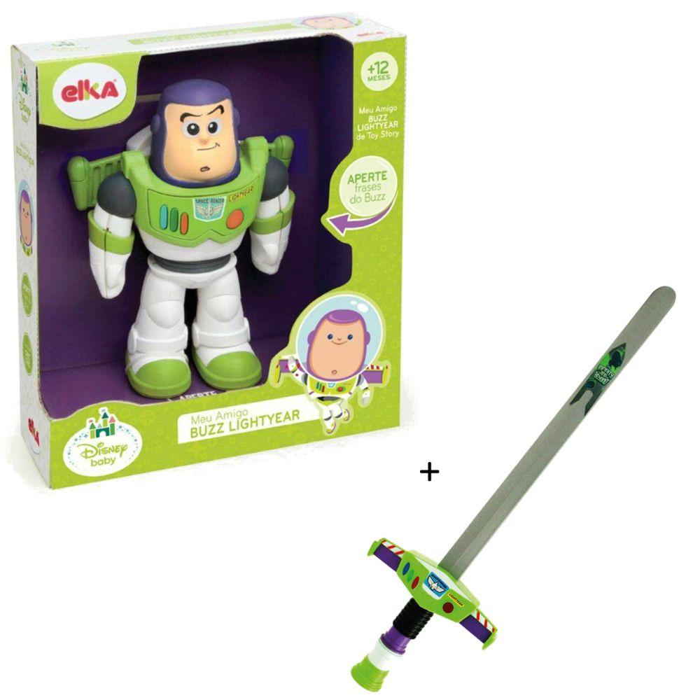 Kit Toy Story Com Boneco Buzz Lightyear Frases Espada