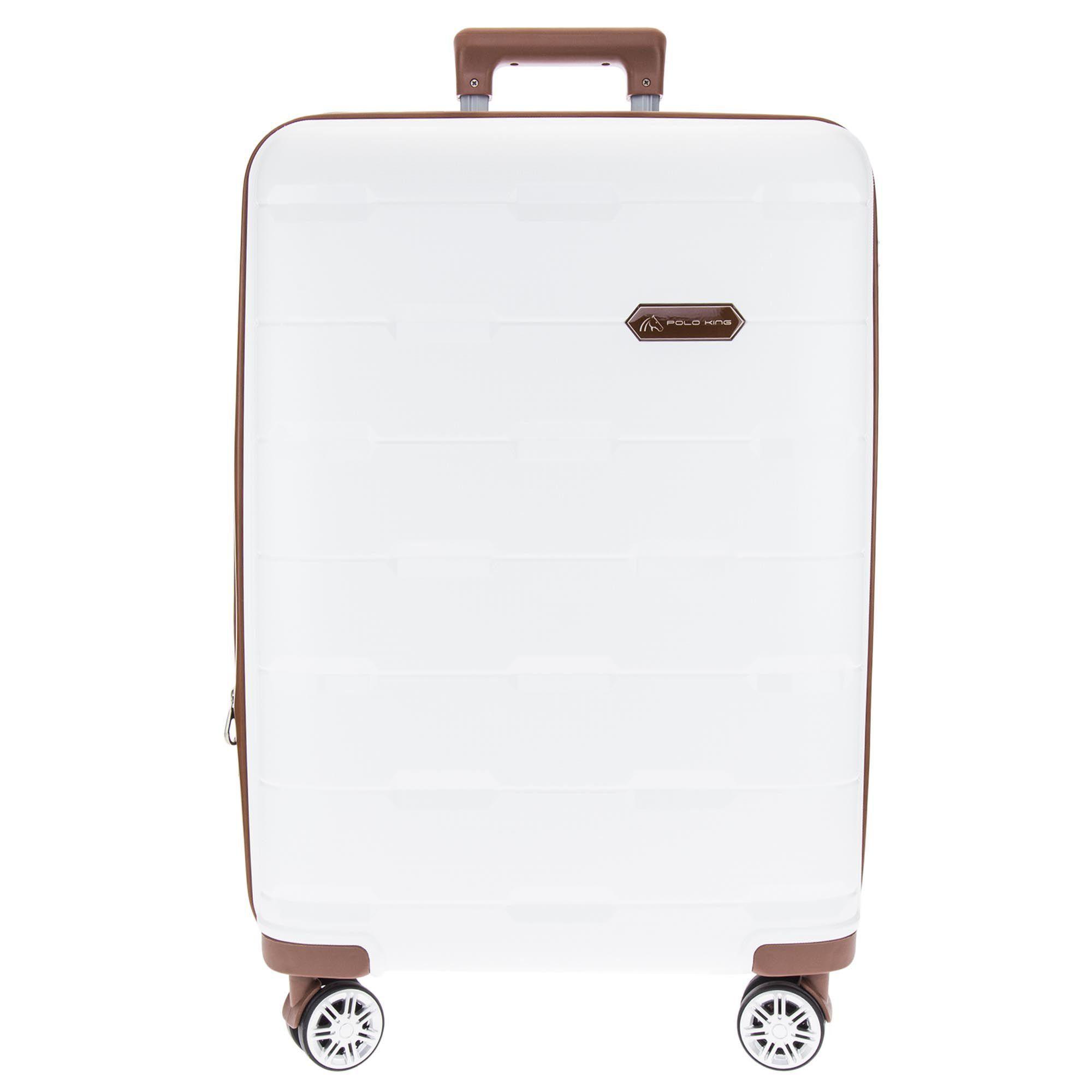 Mala De Viagem Branca Com Contornos Em Caramelo Textura Losangos Polo King - Pequena