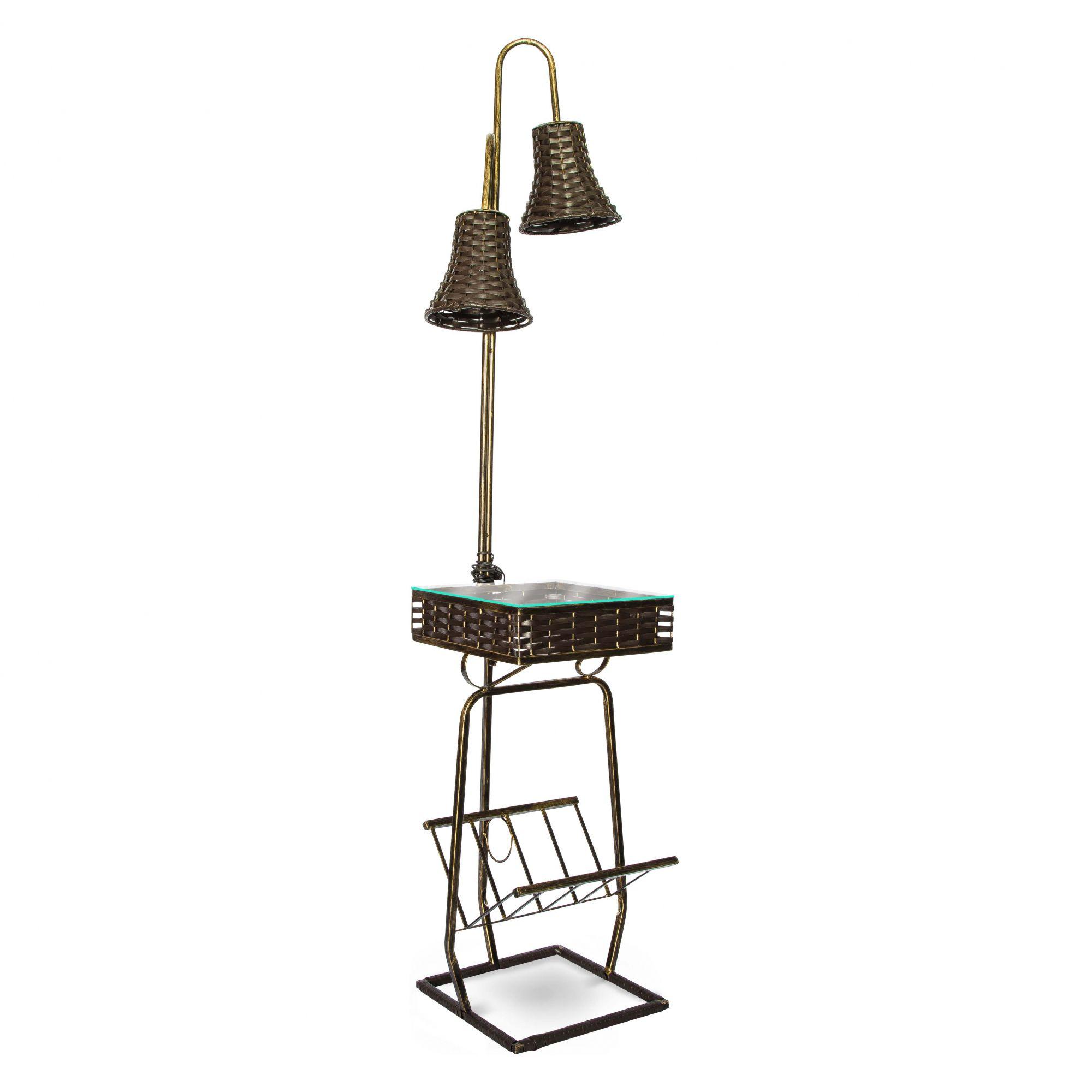 Mesa De Telefone Com Luminária 1,66x45x45 Cm Sofisticado Em Aço Decorlidi