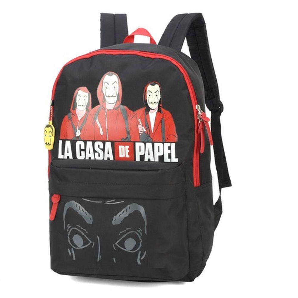 Mochila Costa Escolar Notebook La Casa De Papel Preto Luxcel