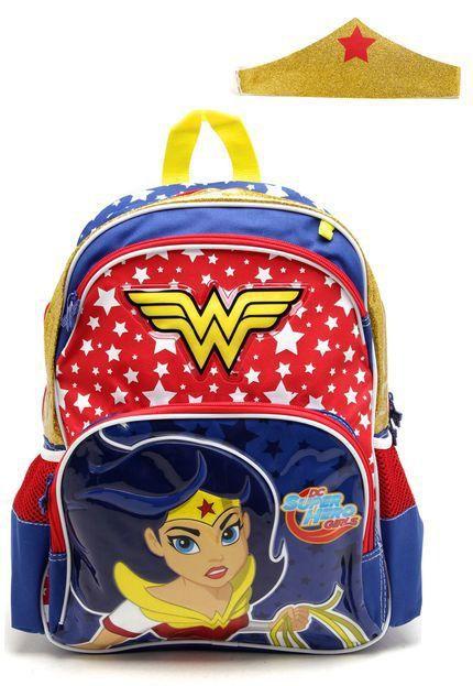 Mochila De Costas Sestini Dc Super Hero Girls G Azul/Dourada/Vermelha