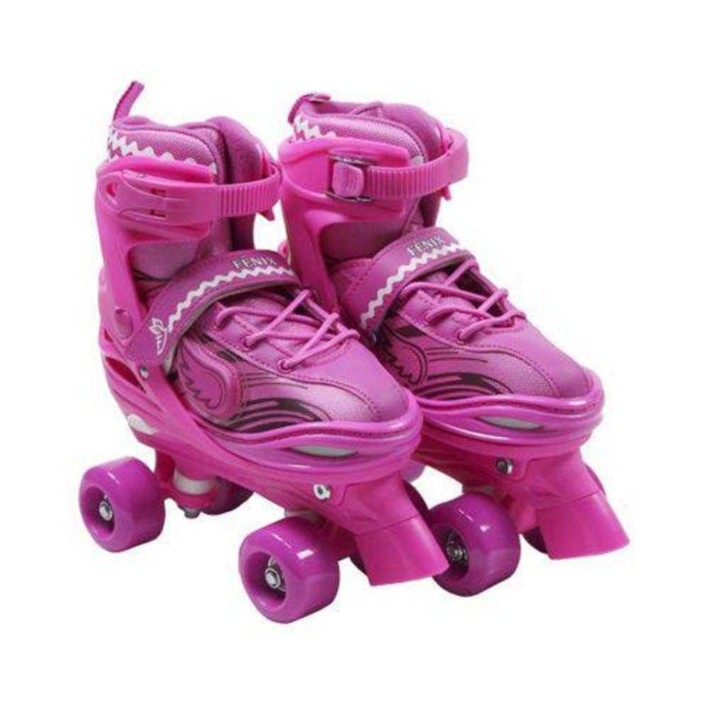 Patins Roller 4 Rodas Ajustável Rosa Com Luz 38 A 41 Fênix
