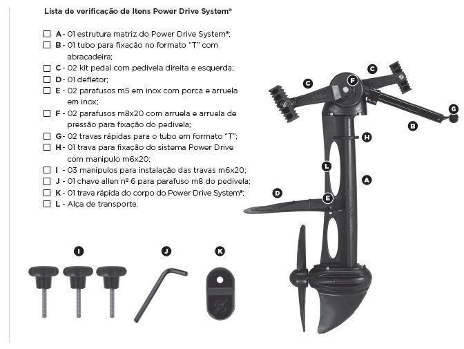 Pedal Power Drive System Para Caiaque Milha Náutica