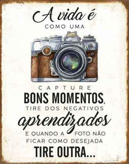 Placa Mdf 19x24cm A Vida E Como Uma Camera Litoarte