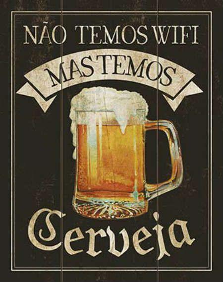 Placa Mdf 19x24cm Nao Temos Wifi Mas Temos Cerveja Litoarte