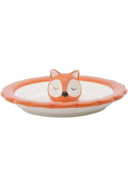 Porta Aneis Ceramica Chilling Fox Face 10,8X10,8X1,1cm Laranja Urban