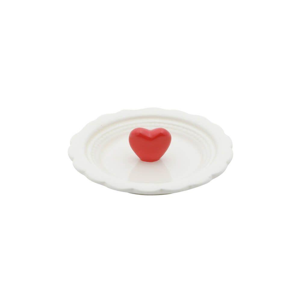 Porta Aneis Ceramica Red Heart 10,8X10,8X1,1cm Branco e Verde Urban