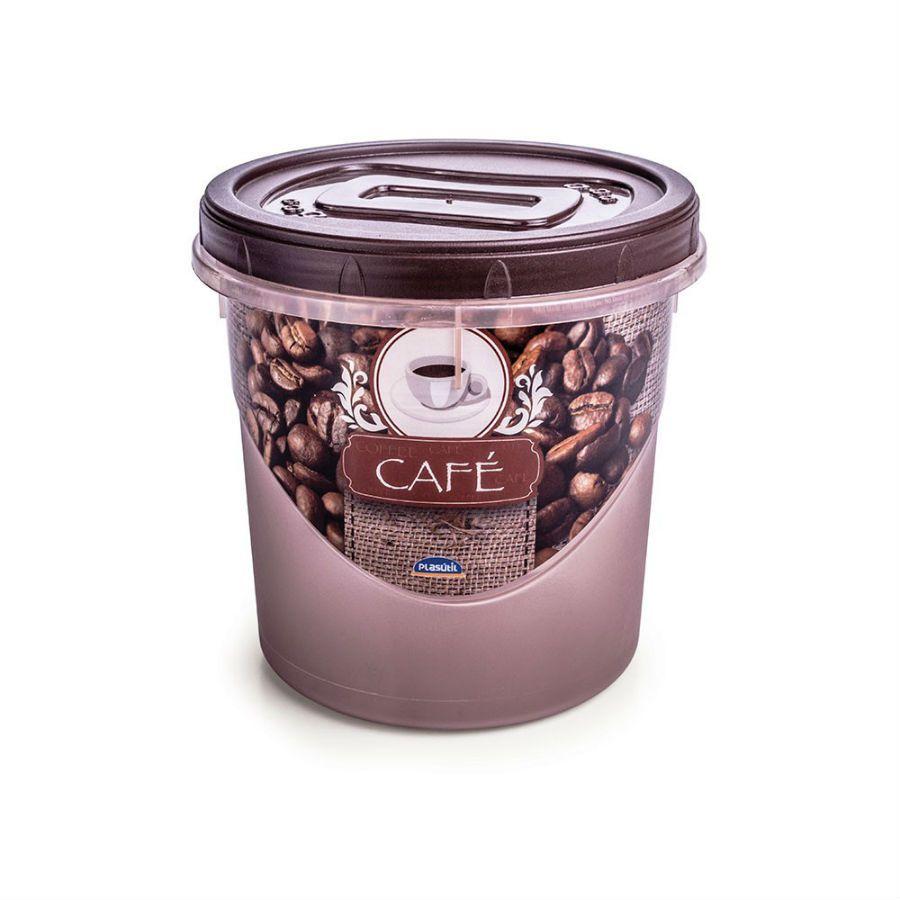 Pote Mantimento 1,8 Litros Rosca Decorado Cafe Plasutil