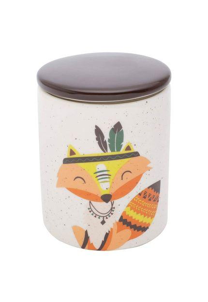 Potiche Ceramica Granilite Apache Raposa Fox 10,3X10,3X13cm Branco Urban