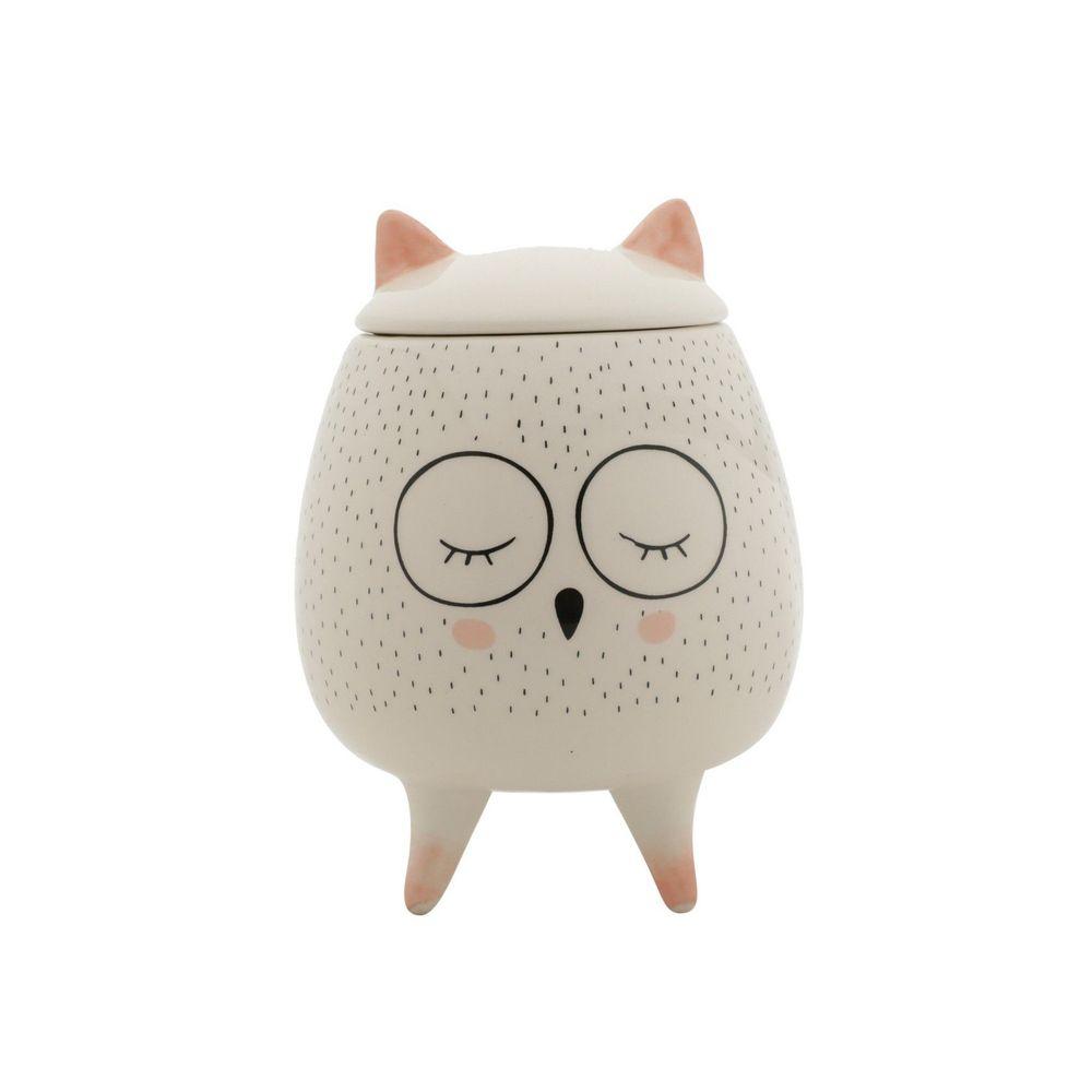 Potiche Decortativo Ceramica Sleeping Owl Branco 10,4X10,4X14cm Urban
