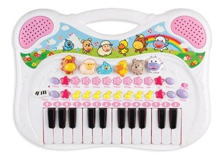Teclado Musical Animal Rosa Braskit