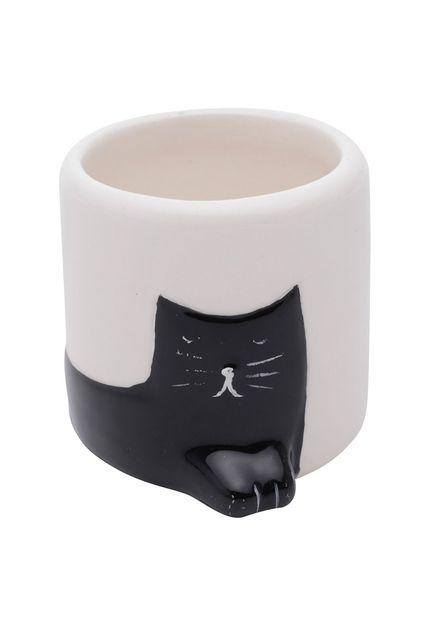 Vaso Ceramica Chilling Cat Gato 7X7X8cm Preto Urban