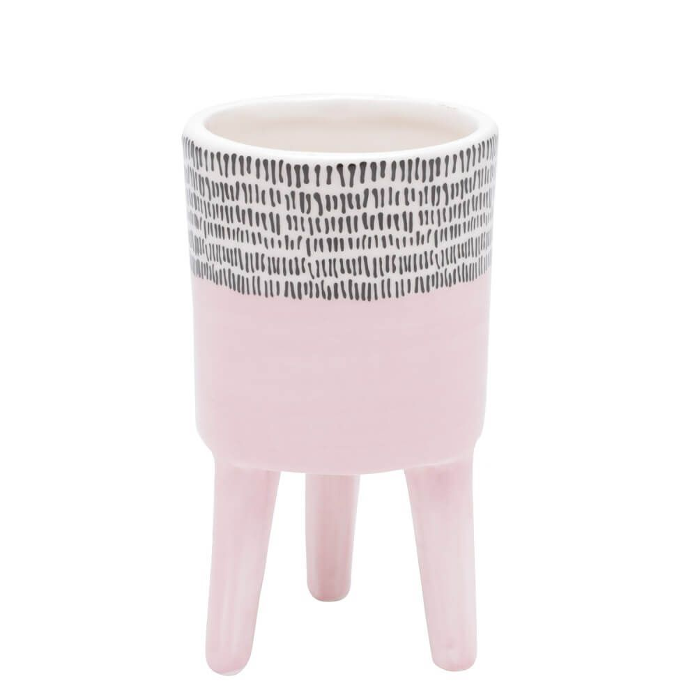 Vaso Ceramica Com Pe Bright Colors 7X7X12cm Rosa Urban