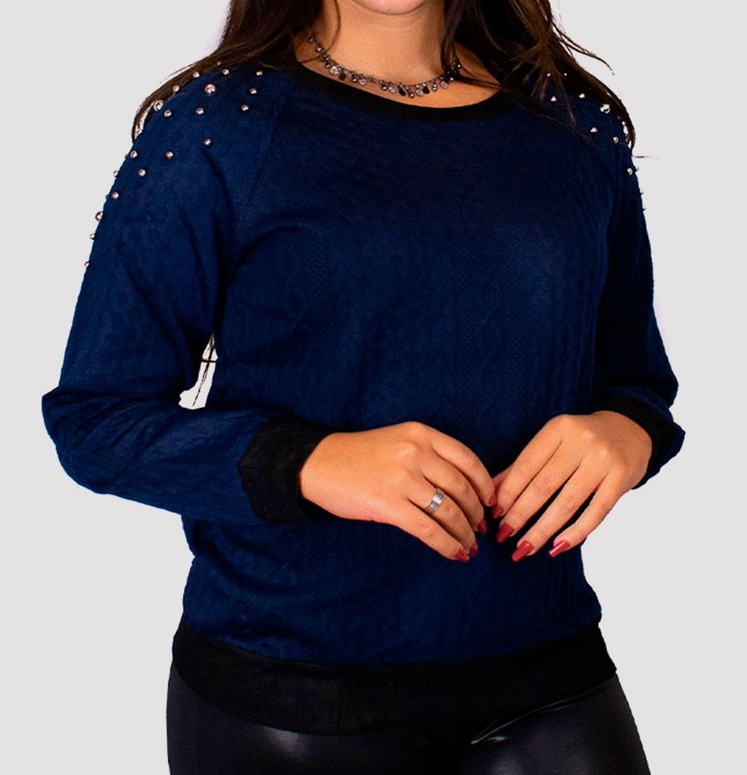 Blusa de Frio Feminina com Detalhe em Strass