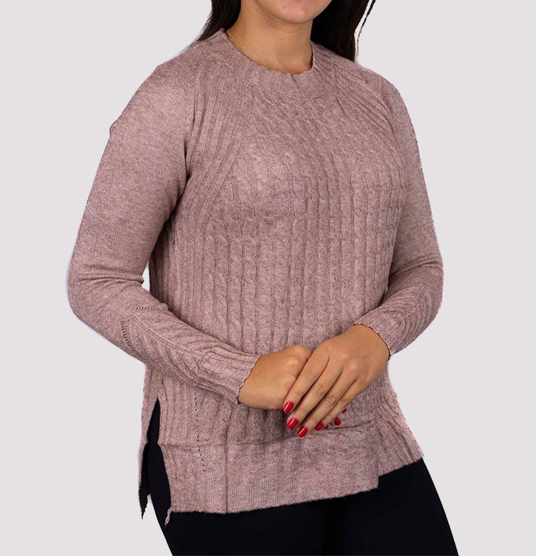 Blusa de Frio Feminina de Tricô com Detalhe Lateral