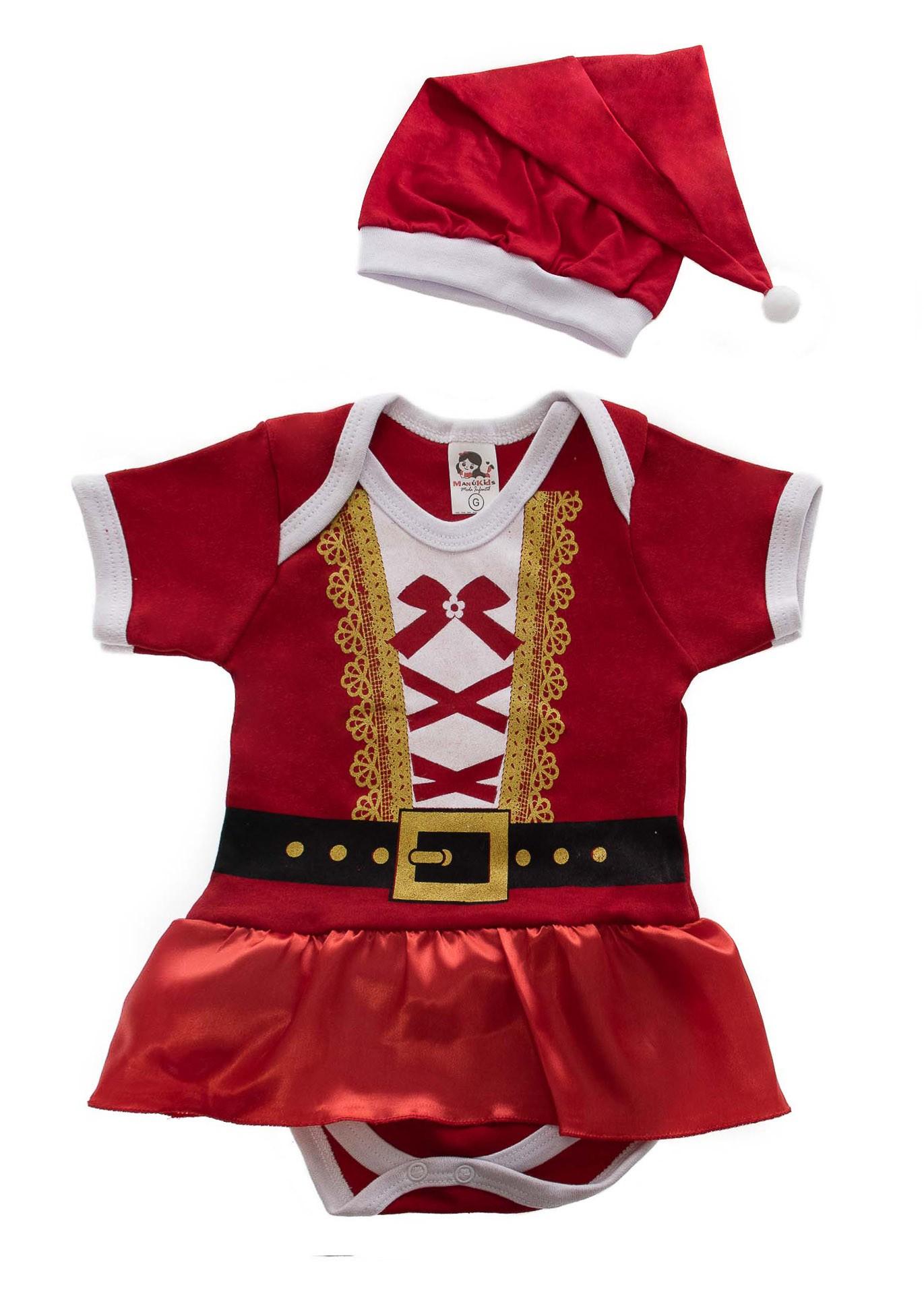 Boby Infantil Temático Mamãe Noel com Gorro