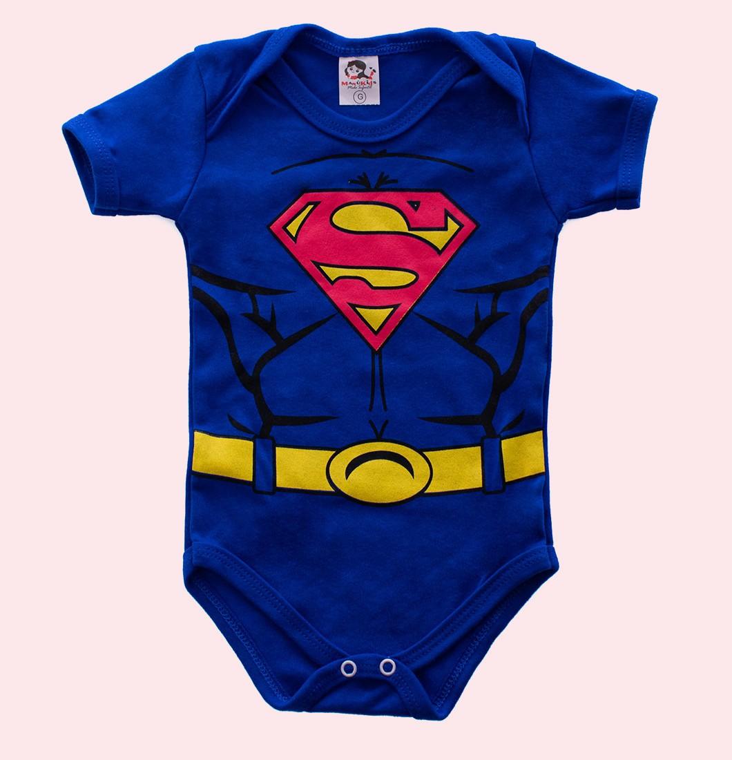 Body Bebê Divertido Personagem Super Homem