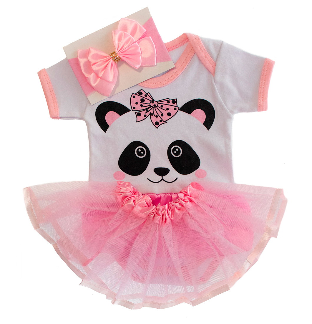 Body Bebê Menina Panda Com Laço e Saia De Tule