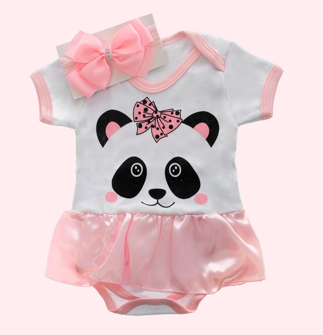 Body Infantil Panda Rosa Com Laço