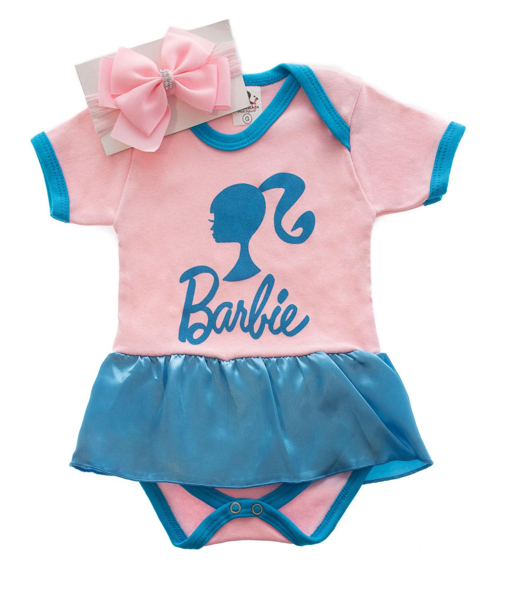 Body Infantil Personagem Barbie com laço