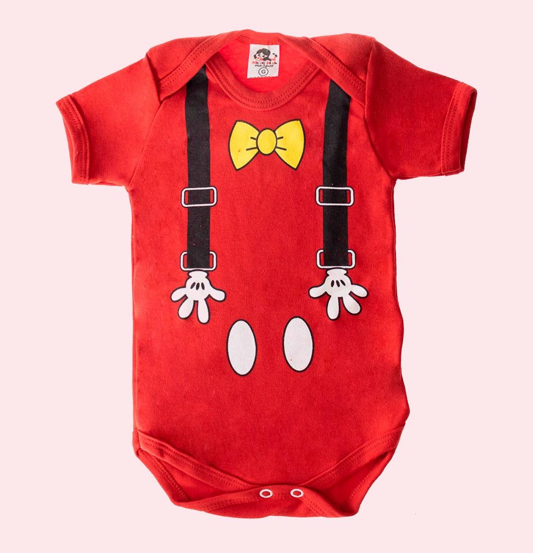 Body Infantil Suspensório Mickey