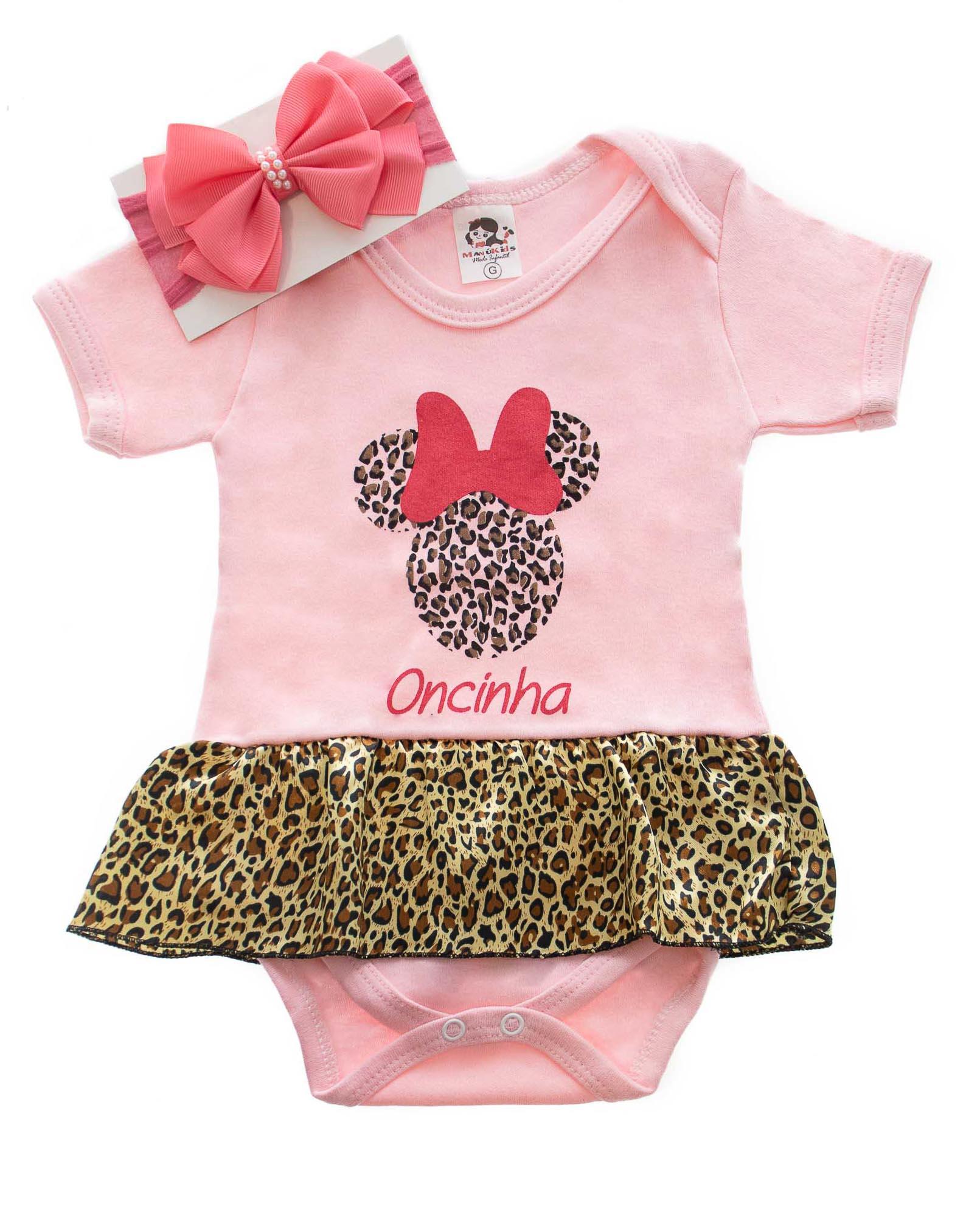Body de Bebê Minnie Oncinha Com Laço