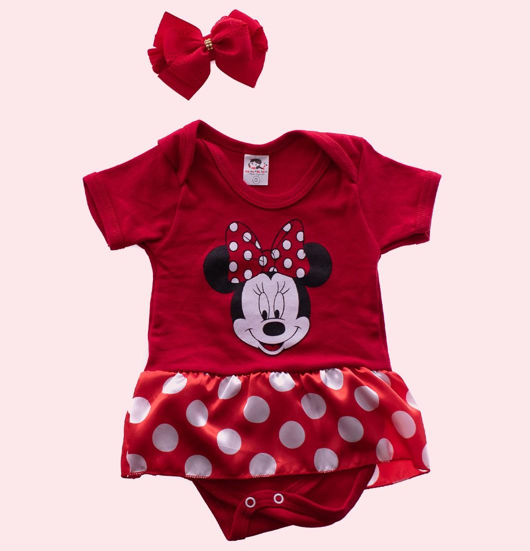 Body Bebê Minnie Vermelho Com Laço