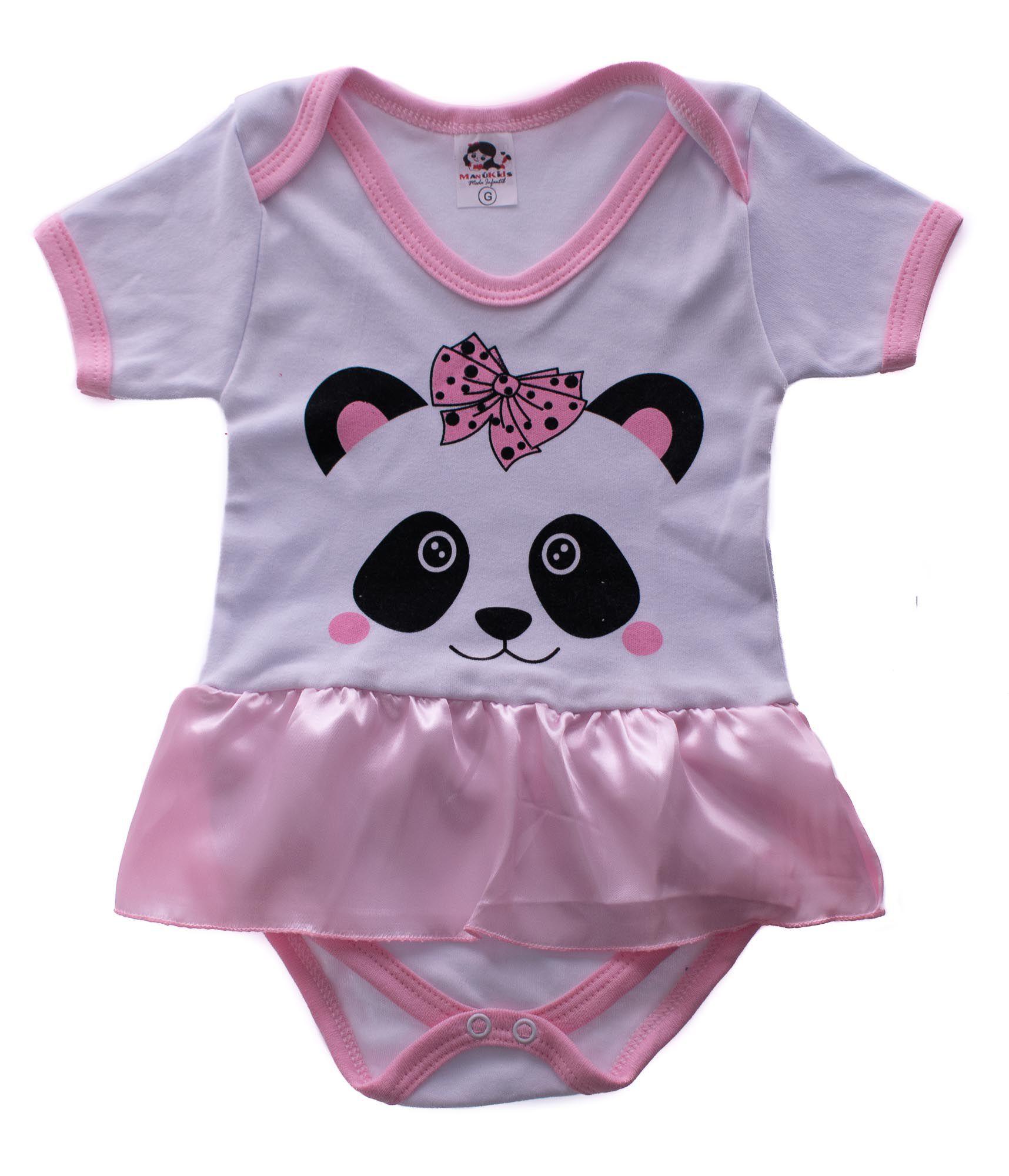 Body Infantil Panda Rosa