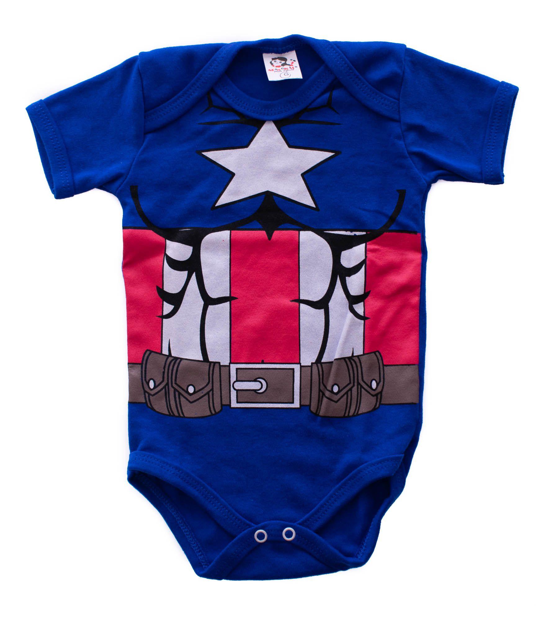 Body Infantil Personagem Capitão América
