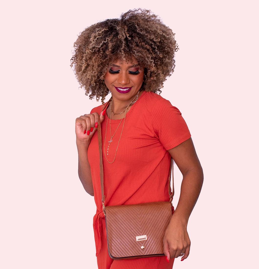 Bolsa Feminina Transversal Básica Textura