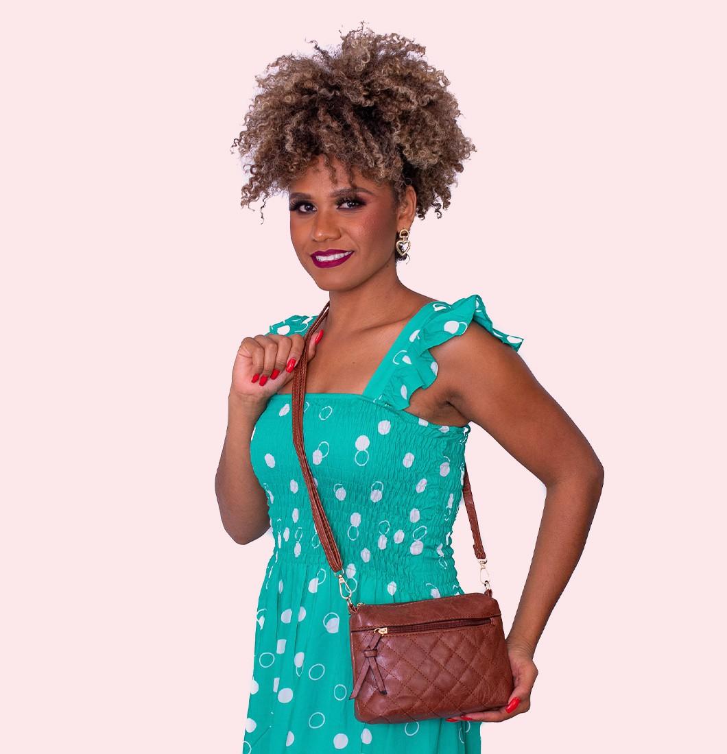 Bolsa Feminina Lateral Costura Trançada